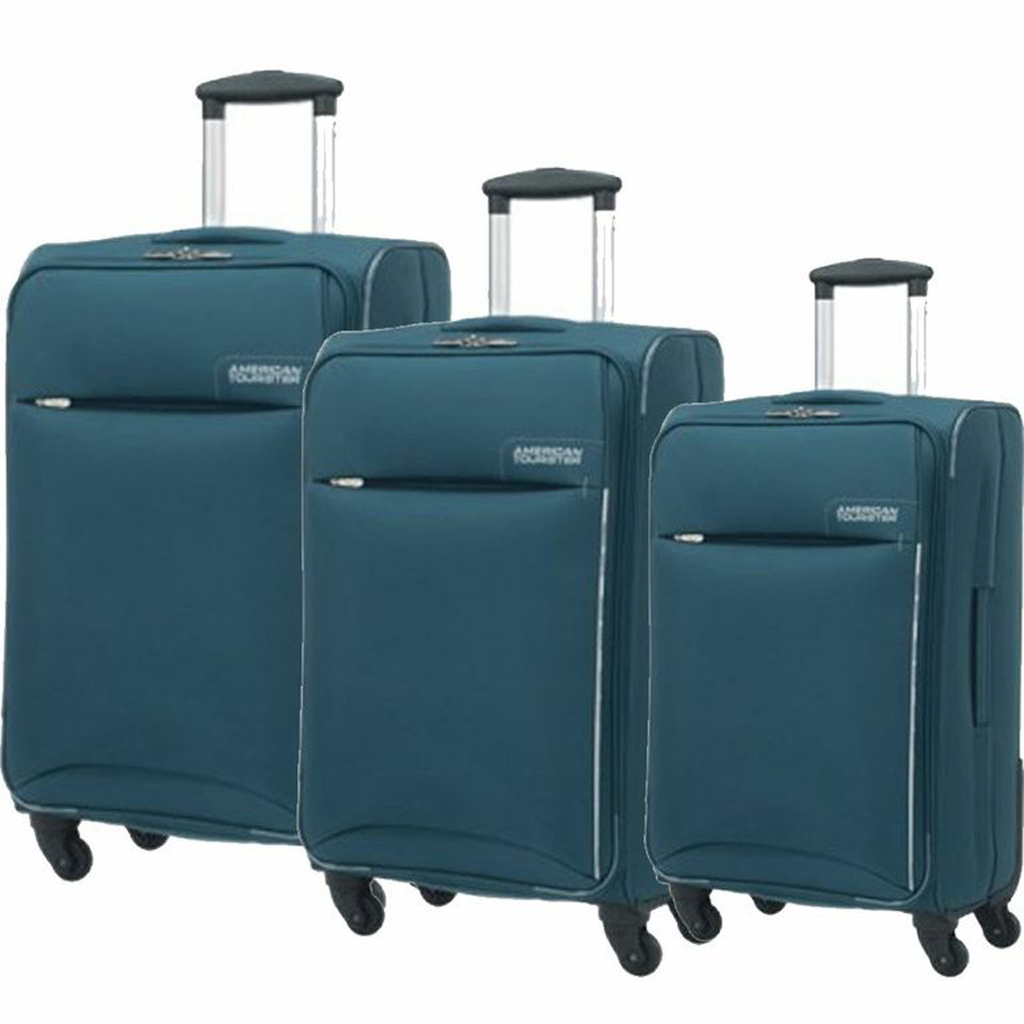 Set Suitcase Spinner 4 Wheels 55/70/80 Cm., Blue, American ...
